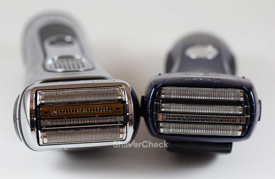 Braun Series 9 9290cc (left) vs Panasonic ES-LF51-A Arc 4, two foil shavers with 4 blade cutting systems.