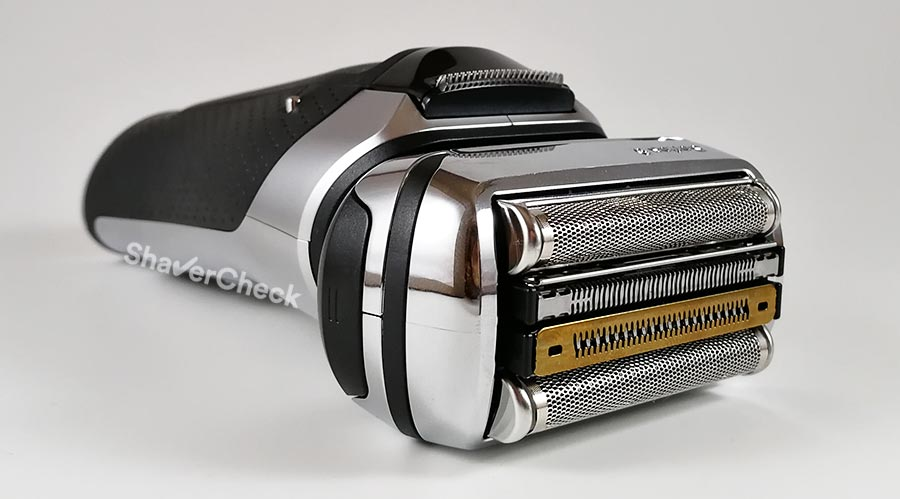 The shaving head of the Braun Series 9 with the updated, Titanium coated trimmer.