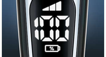 The battery percentage display on the Philips 9700.