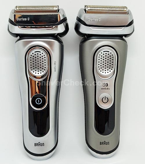 The Braun Series 9 9290cc (left) vs the new Braun Series 9 9385cc (right).