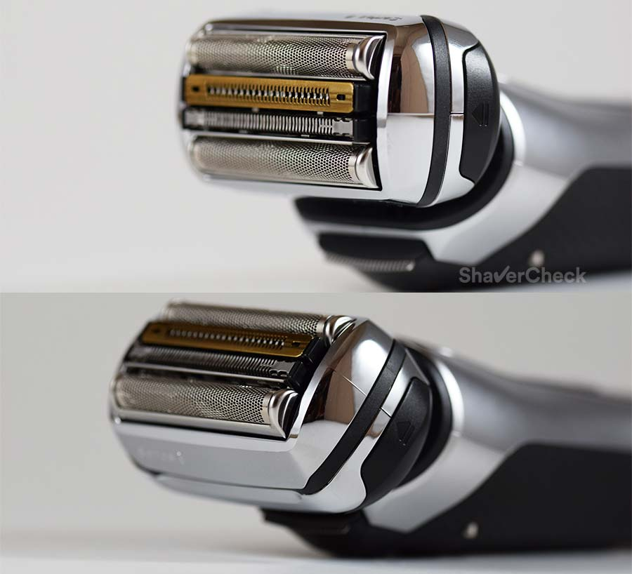 The Braun Series 9 shaving head can move up and down.