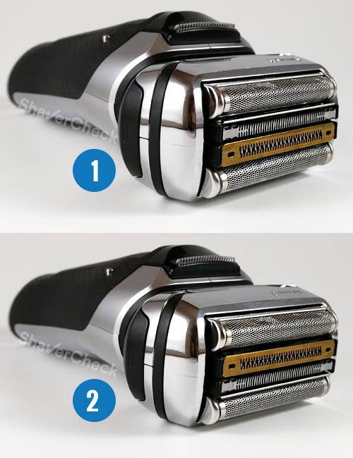 Braun Series 9 shaving head orientation.