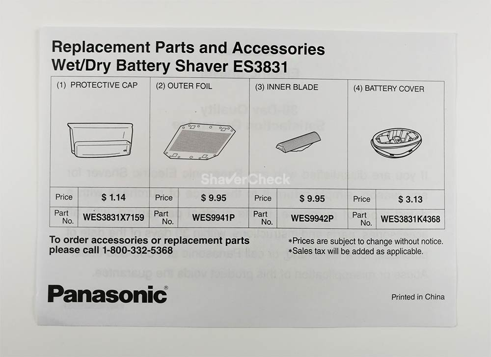 Panasonic ES3831K replacement parts leaflet