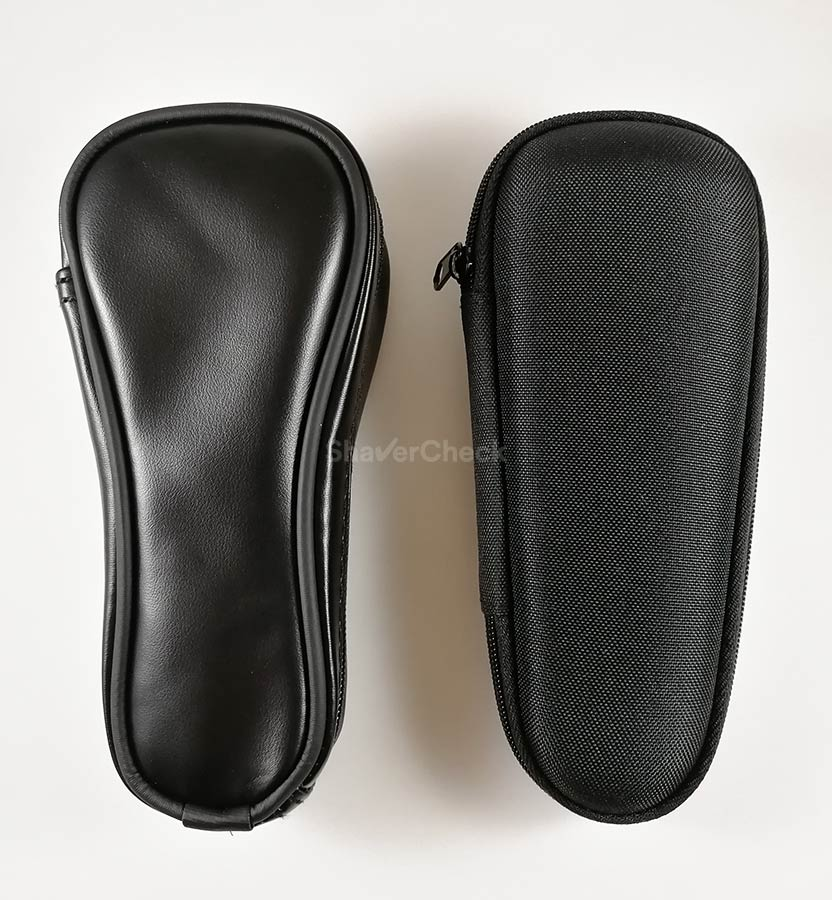 The travel case included with the ES-LV65-S (left) vs the one shipped by Braun with the Series 5, 7 and 9 (right).