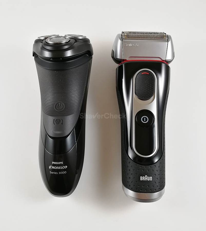 Norelco 3100 S3310/81 vs Braun Series 5 size comparison
