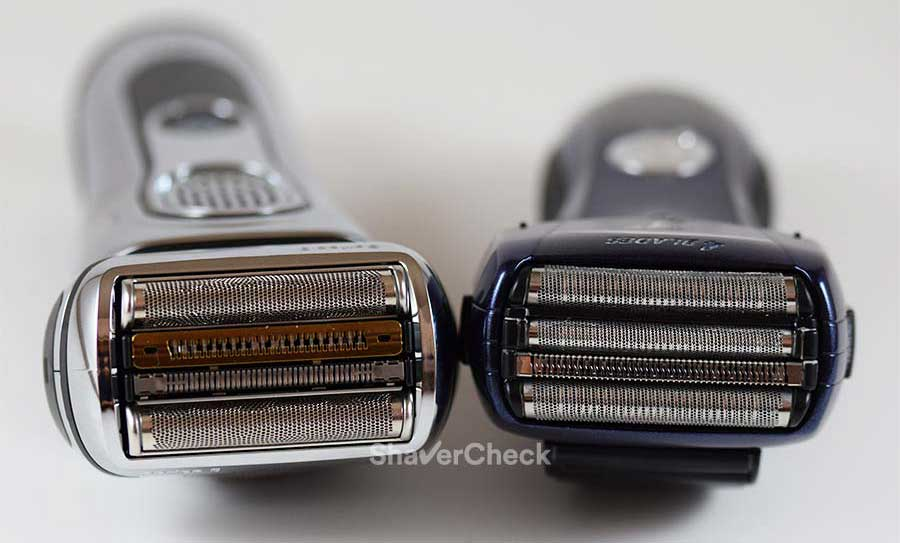 The Braun Series 9 and Panasonic Arc 4, two foil shavers with 4 cutting elements.