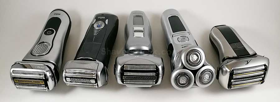A few 3, 4 and 5 blade foil shavers alongside a typical 3 blade rotary.
