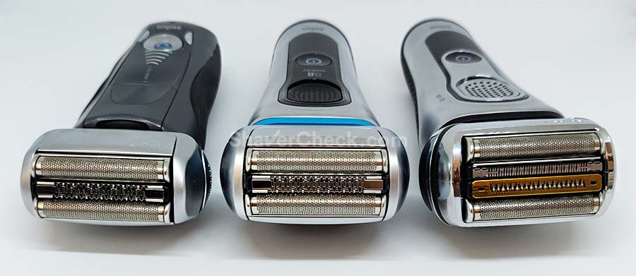 One of the main benefits of electric shavers is comfort. Pictured here: Braun Series 7, 8 and 9.