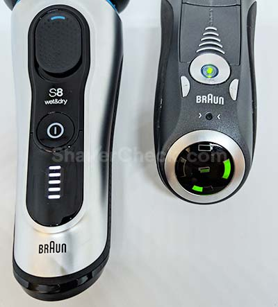 Braun Series 8 vs 7 battery indicator.