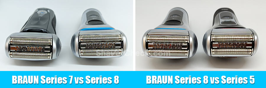 The shaving heads of various Braun models, including the Series 8 8370cc.