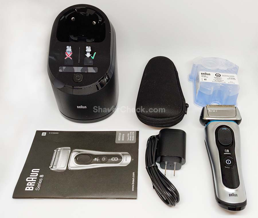 The accessories included with the Braun Series 8 8370cc.