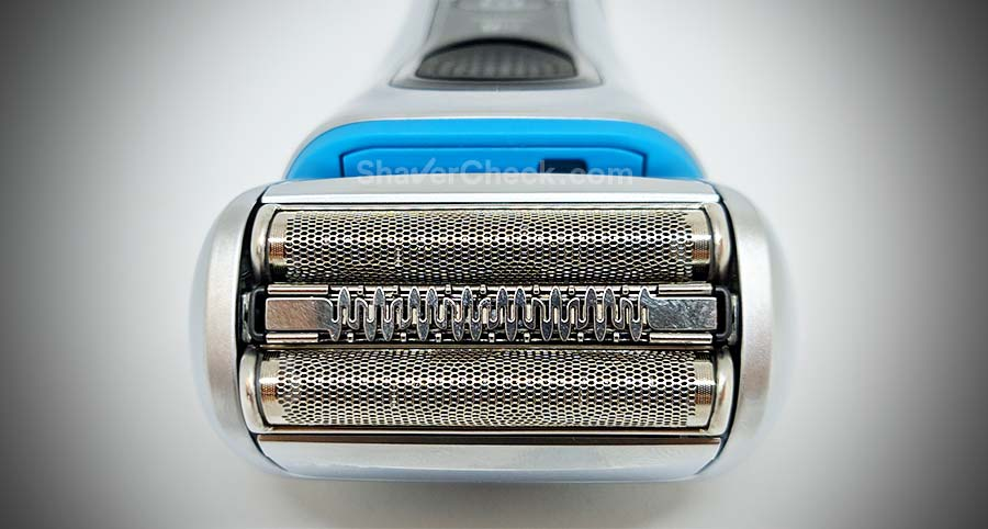 The shaving head of the Braun 8370cc with its 3 elements.