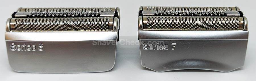 The S8 and S7 shaving heads side by side.