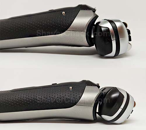The flexing shaving head of the S9 9385cc can swivel up and down.