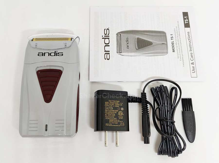The accessories included with the Andis ProFoil shaver.