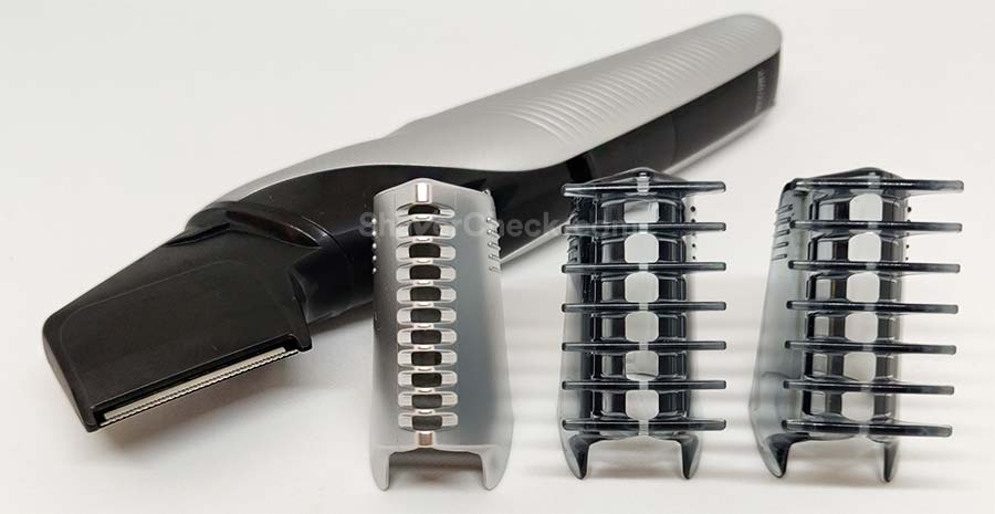 The Skinguard (groin attachment) and the 3mm and 6mm combs, respectively.