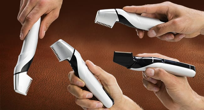 Holding the trimmer in different ways.