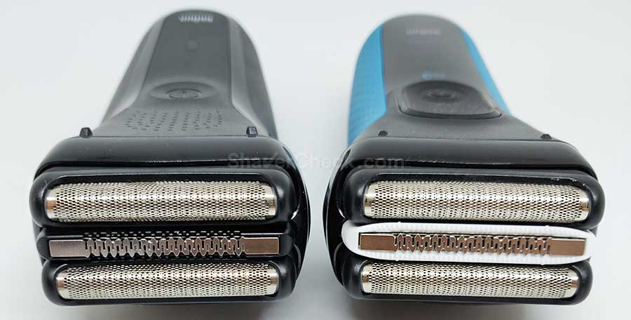 Closeup of the regular Series 3 head (300s) and a ProSkin shaver (3010s).