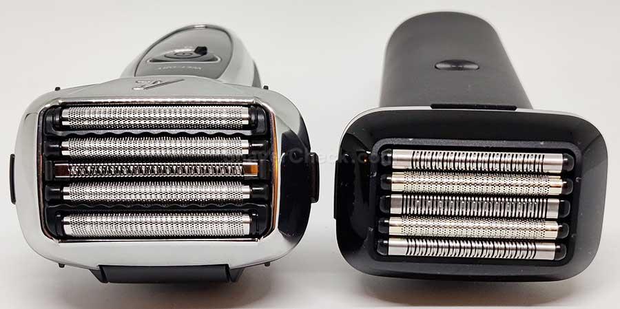 Panasonic Arc5 vs Xiaomi shaving head comparison.