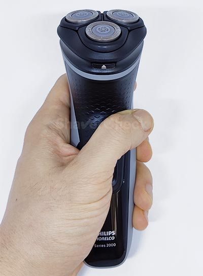 The Shaver 2300 held in hand.