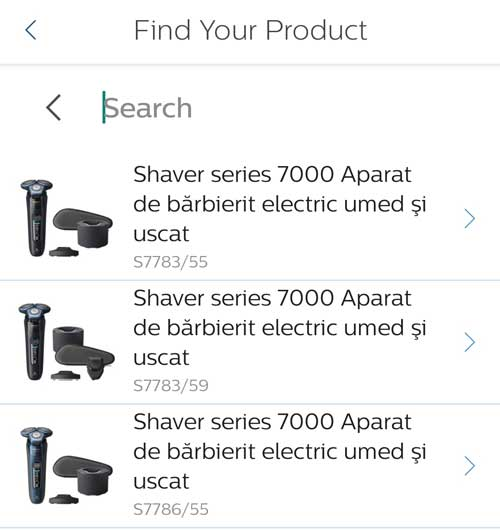 The available Series 7000 models in the Philips GroomTribe app.