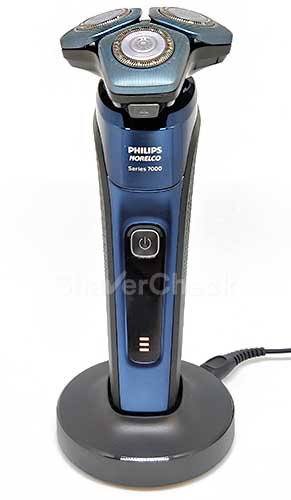 Charging the Philips Norelco 7700 using the included stand.